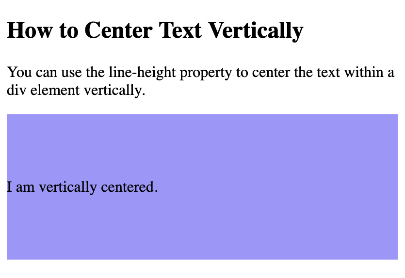 Text vertically centered within a div using CSS line-height property