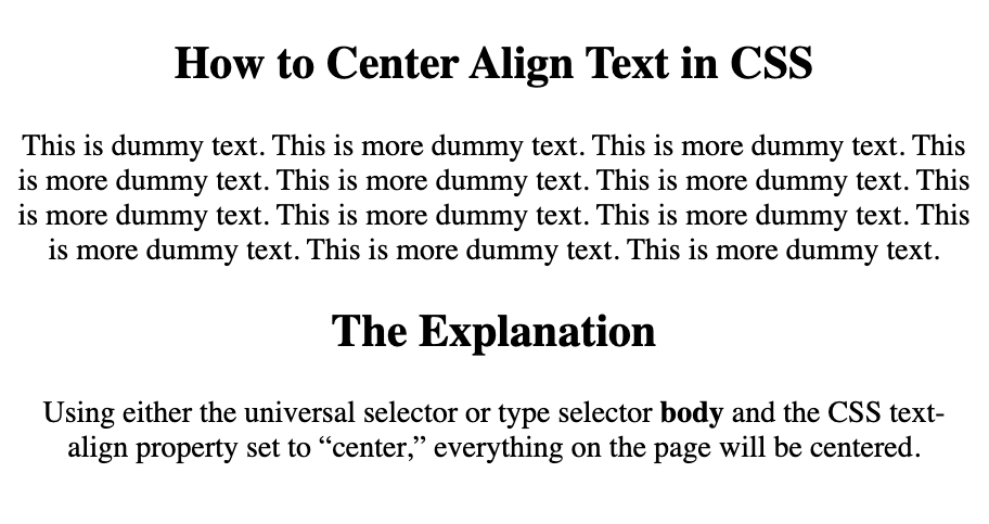 All text, including the headings and paragraphs, are centered with CSS
