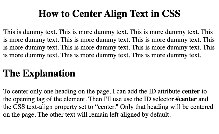 Only one heading is centered on the page using a CSS ID selector