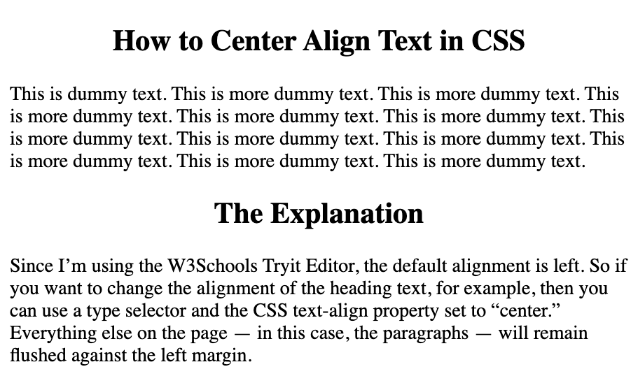 Only the headings are center aligned on the page with CSS