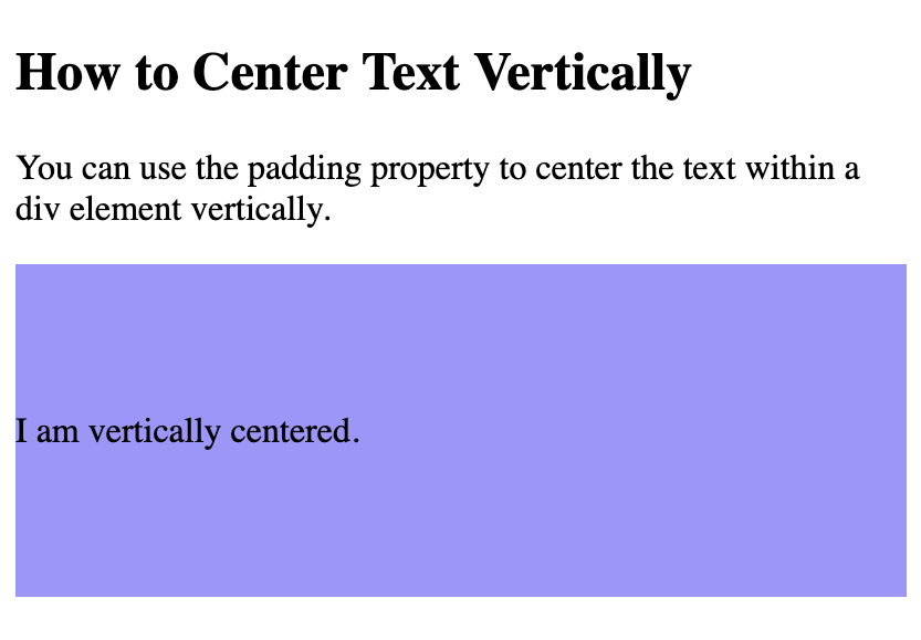 Text vertically centered within a div using CSS padding