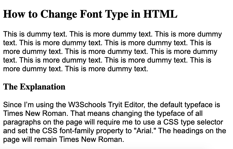 Using internal CSS, the font type of all paragraphs are changed to Arial