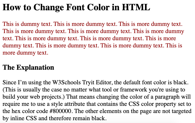 Using internal CSS, the font color of the first paragraph is changed to maroon