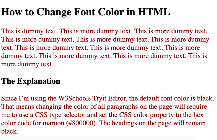 Using internal CSS, the font color of all paragraphs is changed to maroon