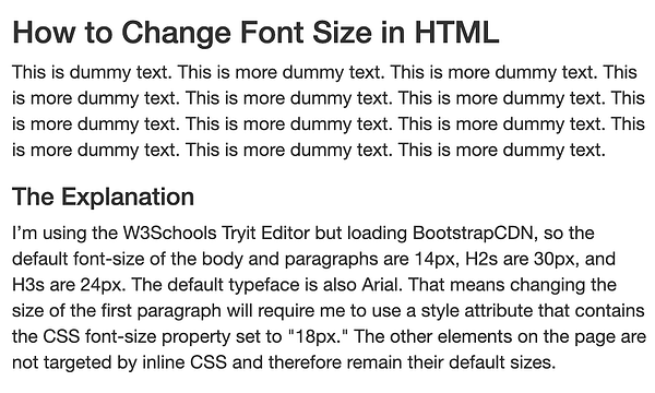 Using internal CSS, the font size of all paragraphs is changed to 18px