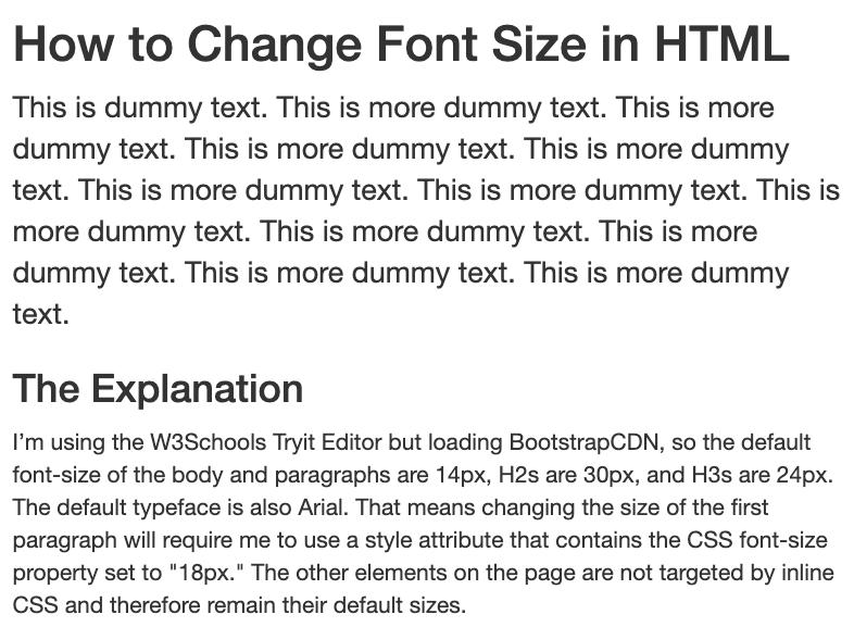 Using inline CSS, the font size of the paragraph is changed to 18px