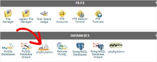 phpMyAdmin interface example manual wordpress theme change