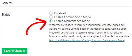 Maintanence mode plugin