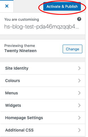 Activate and Publish Button WordPress theme change