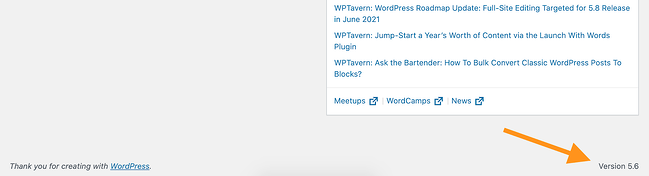the wordpress version number in the bottom corner of the admin interface