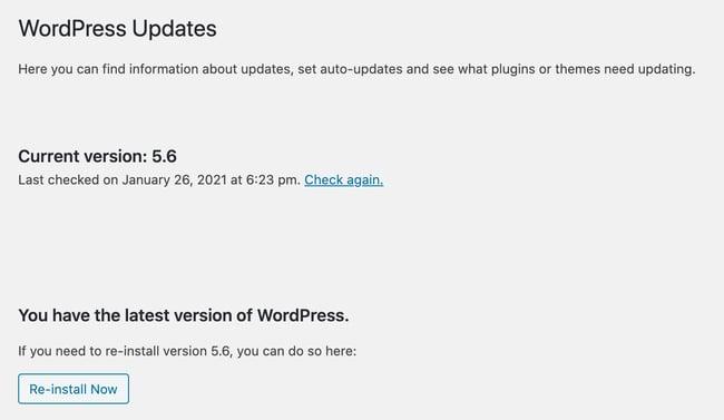 the wordpress updates page for checking wordpress version