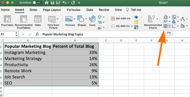 The pie chart button in Excel