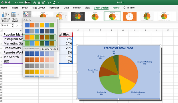 The color options for your pie chart in Excel are preset by Excel.