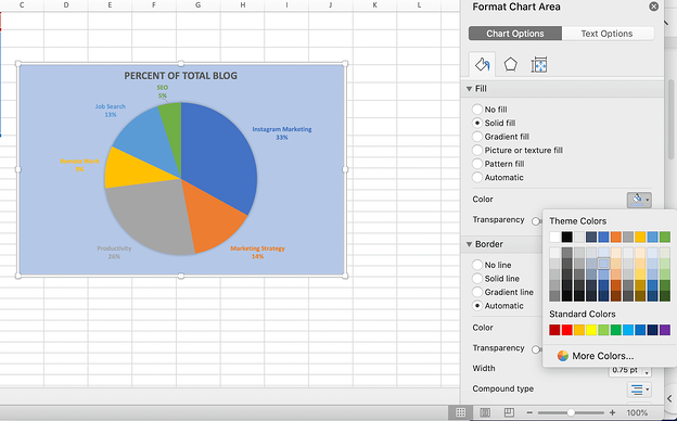 The background color tool for pie charts in excel.