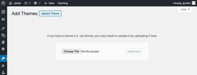 Upload Themes button in WordPress dashboard