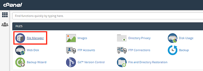 User clicking file manager in cPanel of WordPress hosting provider