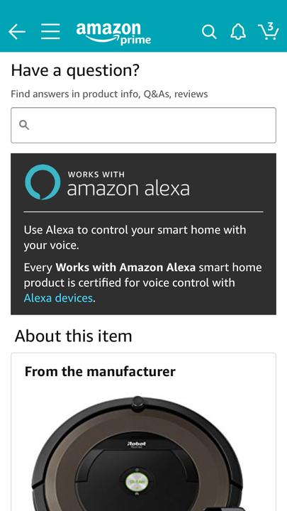 Amazon Alexa purchase screen answering common questions about the product