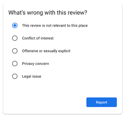"""choose the correct option for """"what's wrong with this review?"""""""