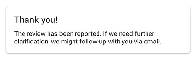 report the google review thank you page