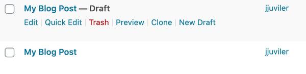a cloned post in WordPress