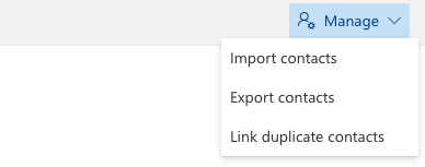 Outlook's dropdown menu to import and export contacts