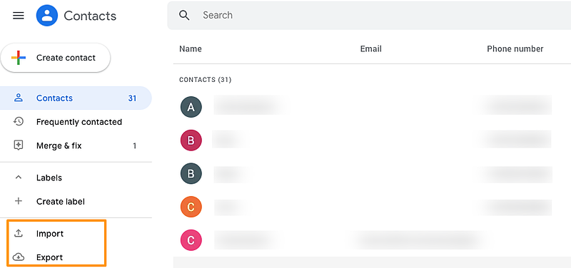 Google Contacts menu showing the option to import and export contacts