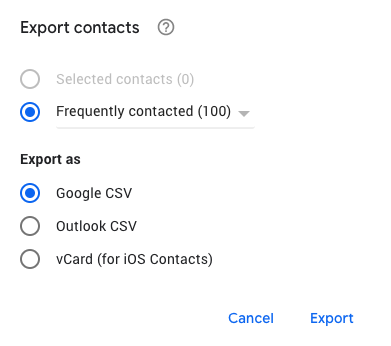 Google Contacts menu showing the options available for exporting contacts