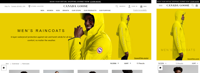 Above the fold content of Canada Goose site and mobile site slows down Core Web Vitals
