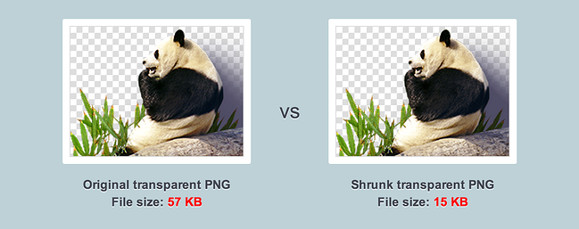 Side by side comparison of original PNG image and optimized PNG image