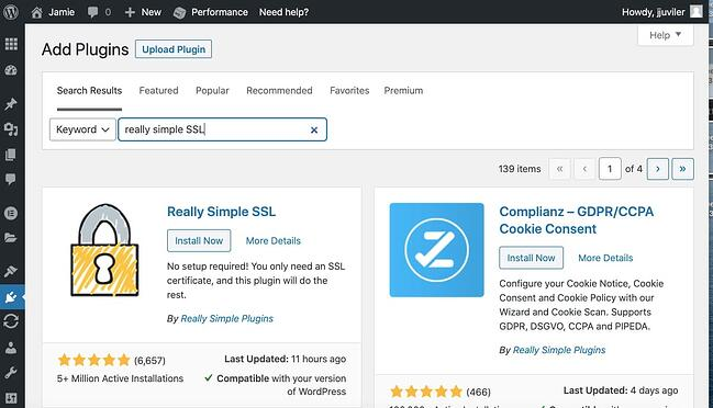 Install and activate Really Simple SSL plugin in WordPress dashboard