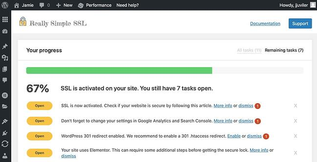 Remaining tasks for Really Simple SSL plugin to finish process of forcing HTTPs in WordPress
