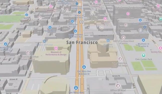 screenshot of google maps api alternative tomtom