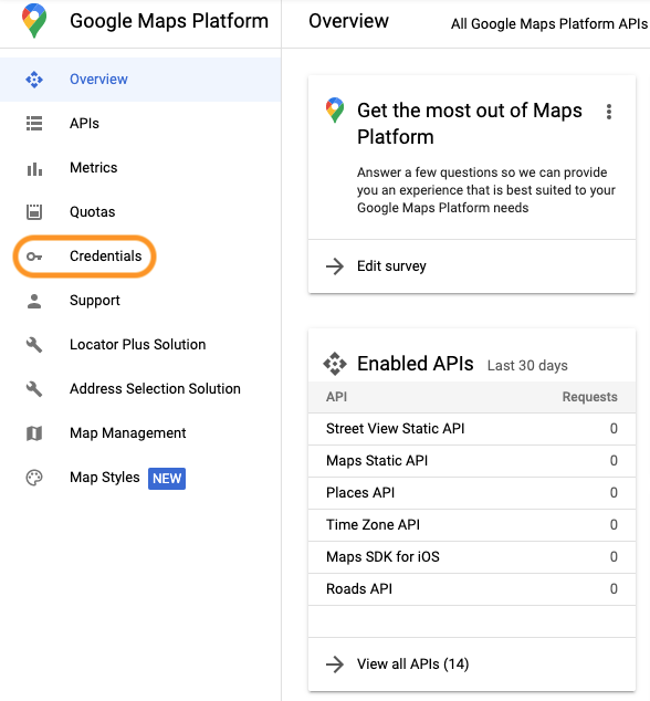 list of api keys in the google developer portal