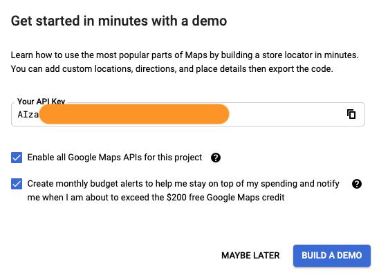 Google Maps API Key free: getting an api key