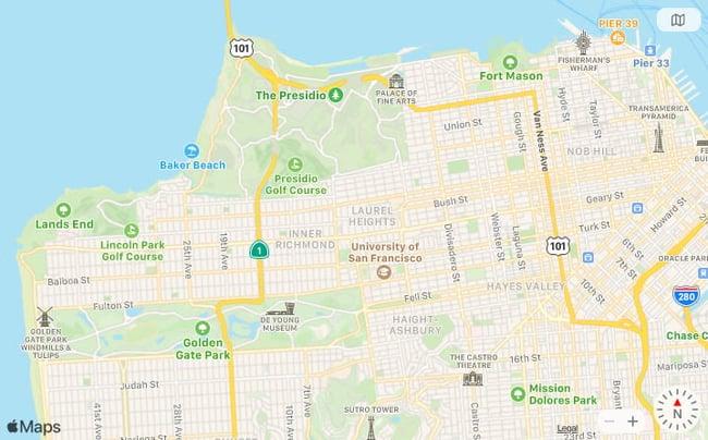 screenshot of google maps api alternative apple maps