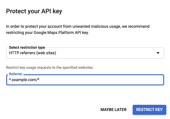 Google Maps API Key free: setting restrictions on google api key