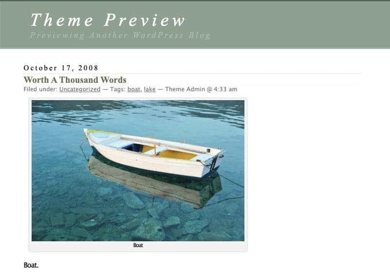 default header of WordPress Classic Theme