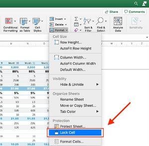 How to Lock Cells in Excel step 3