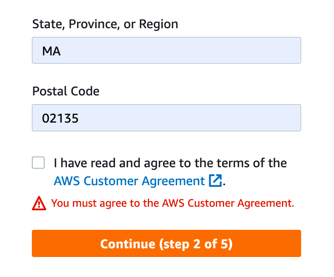 AWS form requires users to check the AWS customer agreement checkbox to complete registration process