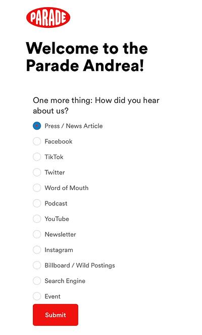 Parade form uses checkboxes to ask buyers how they heard about the company