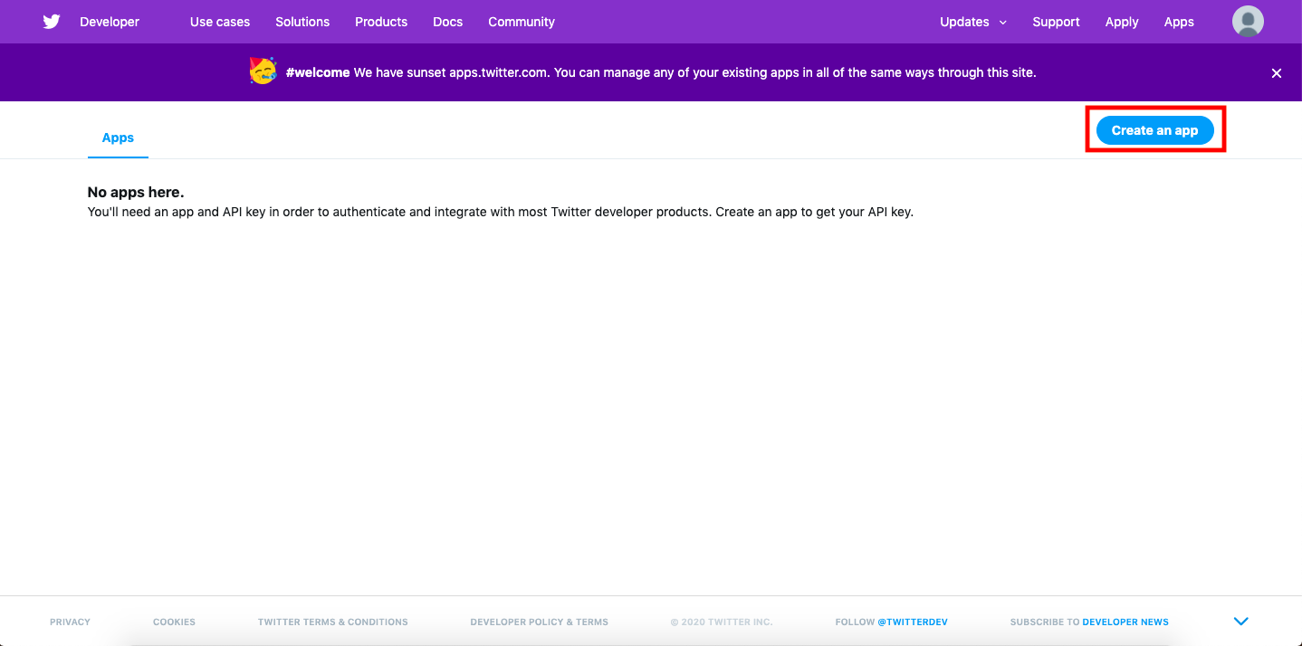 Click create a app button to start application for twitter developer account
