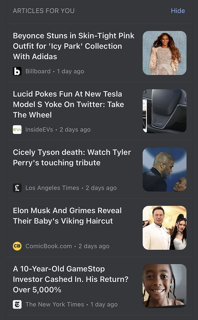 Google News Personalized Recommendations featuring Beyonce, Tyler Perry, and Elon Musk.