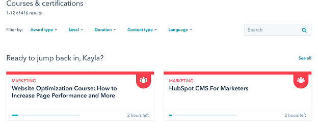 Personalized courses from HubSpot Academy