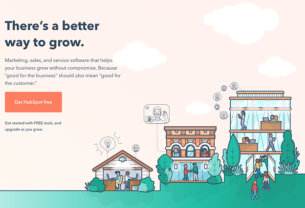 HubSpot CMS homepage with animated images of a small town that reads There's a better way to grow get Hubspot free
