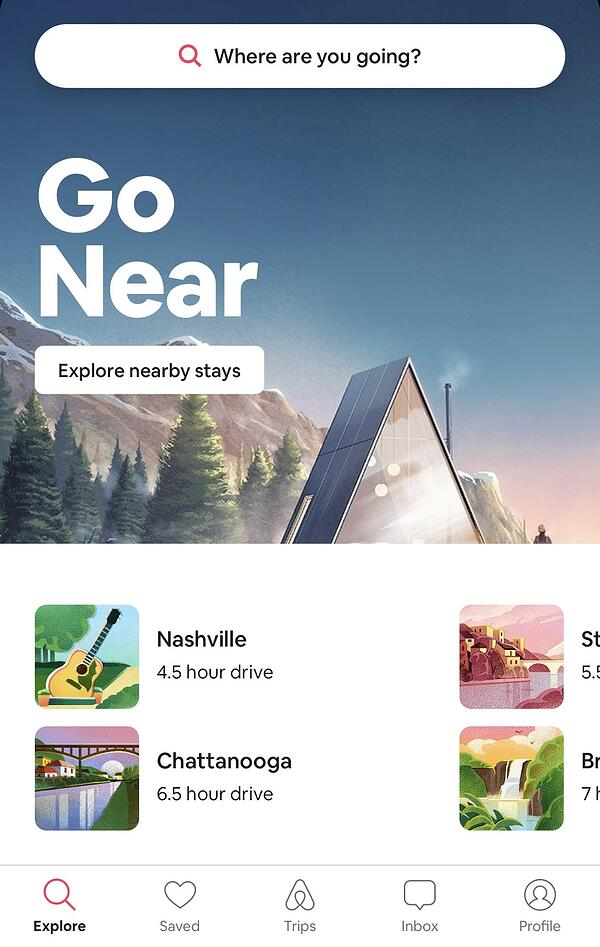 Airbnb personalized recommendations featuring Nashville and Chattanooga