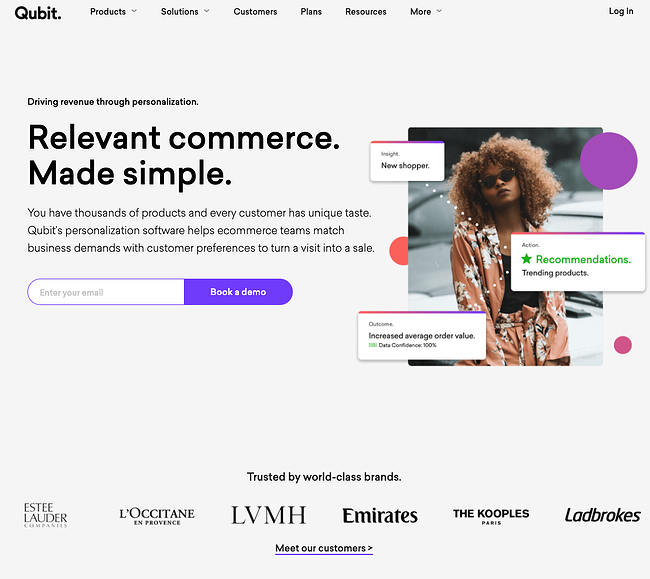 Quibit homepage that has a white background and purple buttons that reads relevant commerce made simple and shows popular brands and clients they've worked with