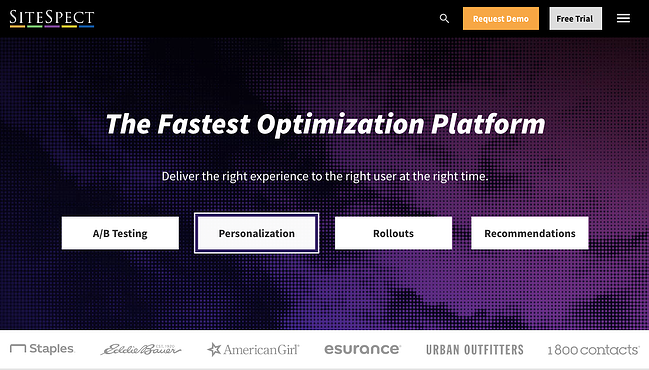 Sitspect homepage with a dark purple background that gives the user options to A/B test, personalize, rollout, or recommend new products to their visitors.
