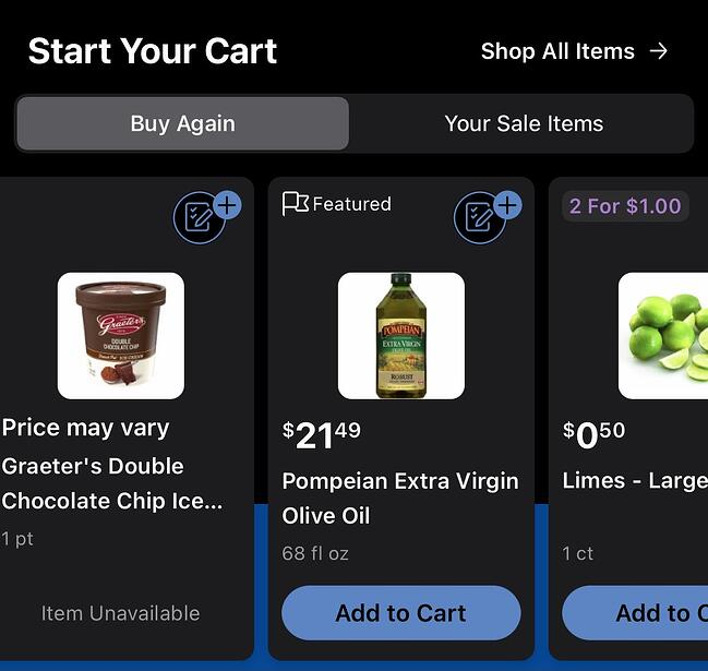Kroger personalized shopping list recommendations including ice cream, olive oil, and limes