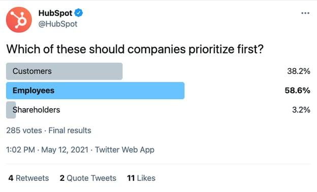 Twitter poll for customer feedback