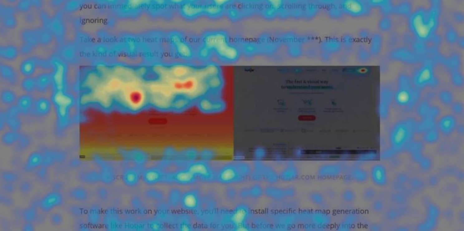a heatmap of a website